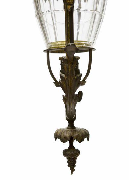 Brocante hanging lamp, bronze fitting around glass shade, 1910s