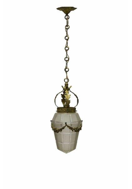 Glazen Hanglamp aan Koperen Armatuur