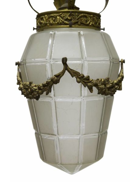 Brocante hanging lamp with garlands in glass, 1930s
