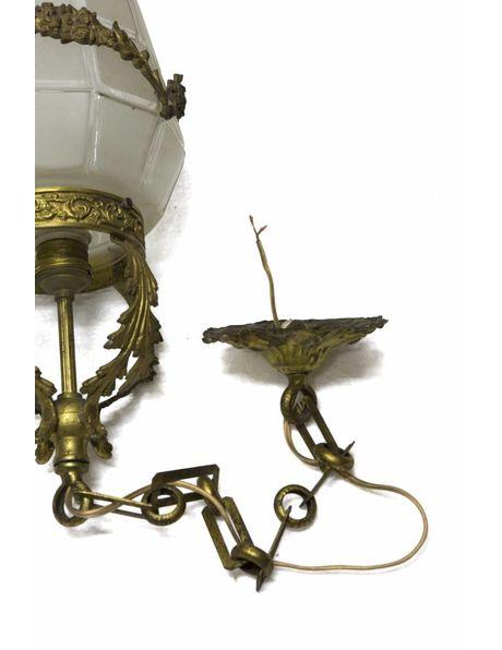 Brocante hanglamp met guirlandes in glas, ca. 1930