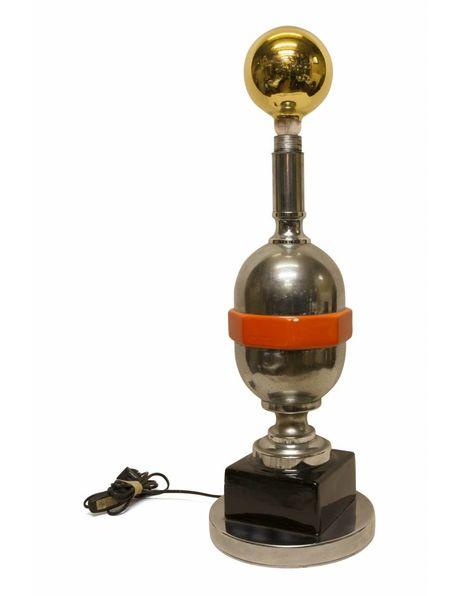 Supervette futuristische staande lamp, chroom met zwart en oranje, gouden gloei lamp