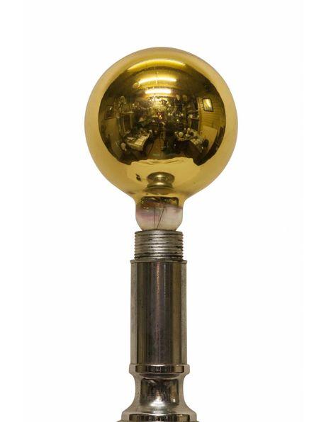 Super cool futuristic floor lamp, chrome with black and orange, golden incandescent lamp