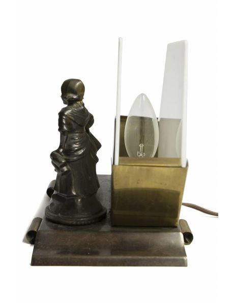 Table lamp with milkmaid next to a little duck, 1940s