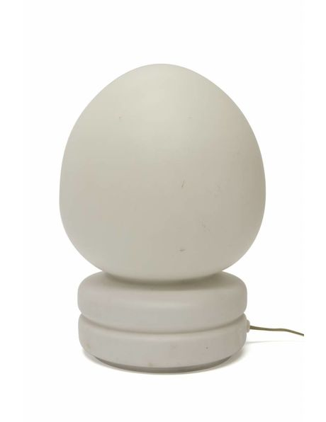 Beautiful table lamp, 1970s, white glass, round shape