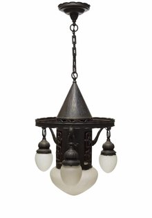Large Pendant Lamp with Bronze Inlay