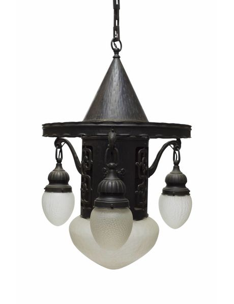 Hanging lamp, black, metal-bronze with glass, 1940s