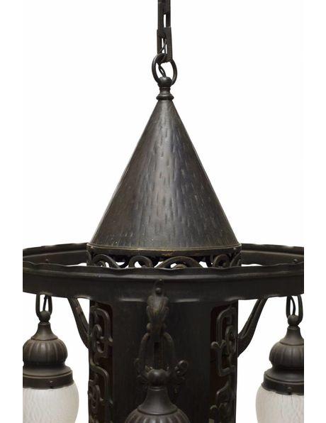 Hanglamp zwart, metaal-brons met glas, ca. 1940