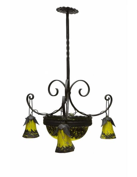 Antique hanging lamp, wrought iron with hand-blown glass, 1930s