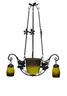 Degue Pendant Lamp, Signed Glass