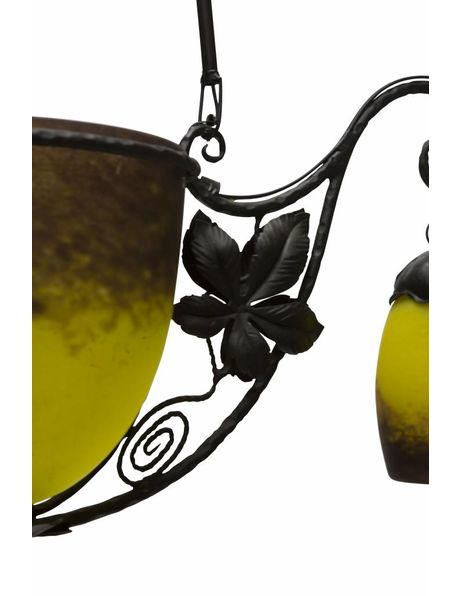 hanging lamp, black with yellow, signed glass in wrought iron, 1940s