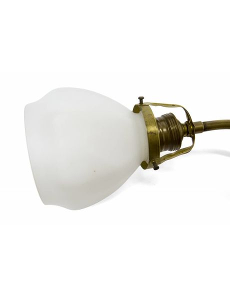 Wall lamp, white shade on col de cygne ('swan neck'), 1930s