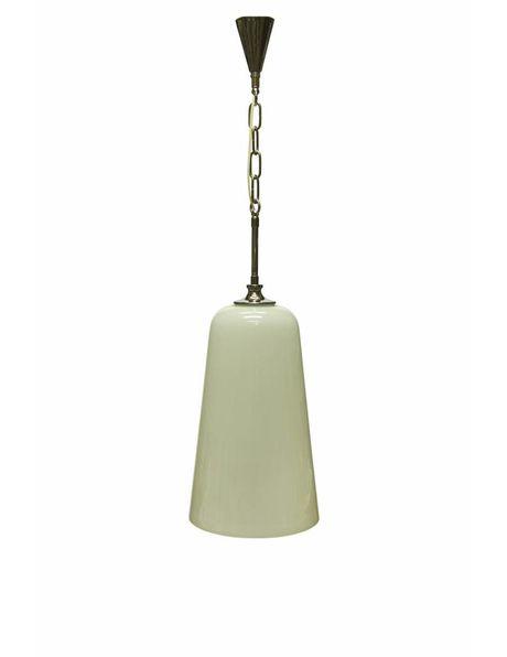 Hanglamp, witte glazen kap met chroom armatuur
