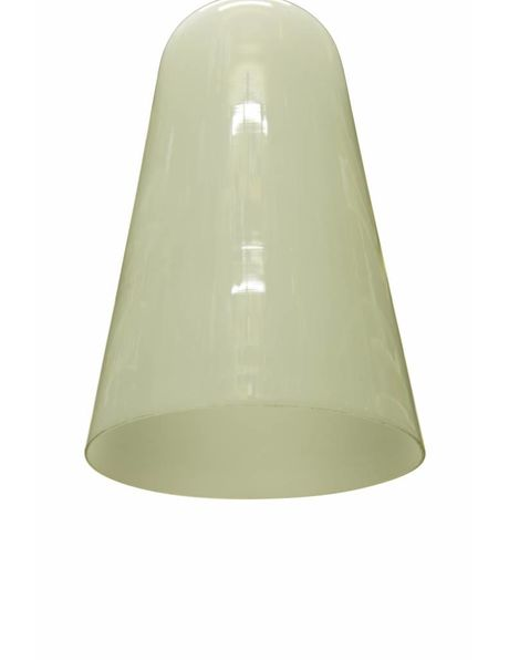 Hanging lamp, white glass shade with chrome fitting