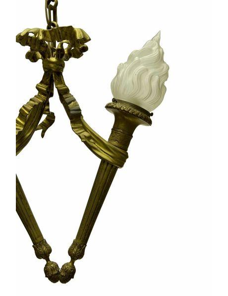 Bronzen hanglamp, twee verstrengelde toortsen, ca. 1930