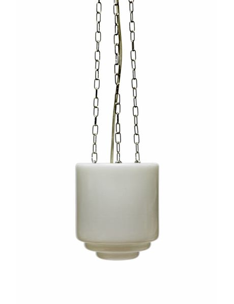 Glass hanging lamp, closed shade on chain, 1950s