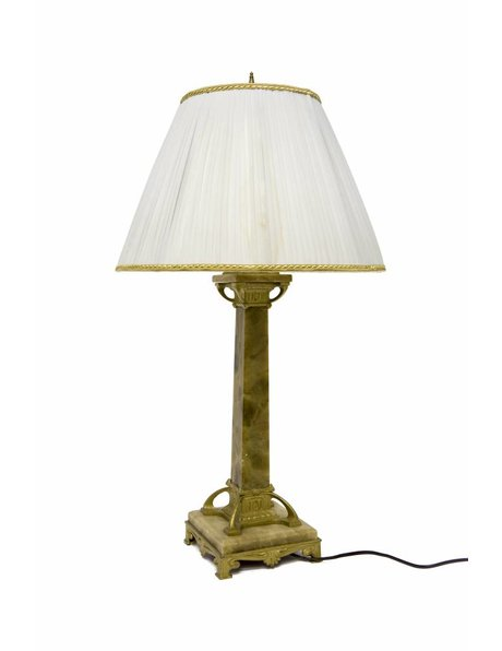 Large Table Lamp, Beautiful Natural Stone Base with Copper, 1940s