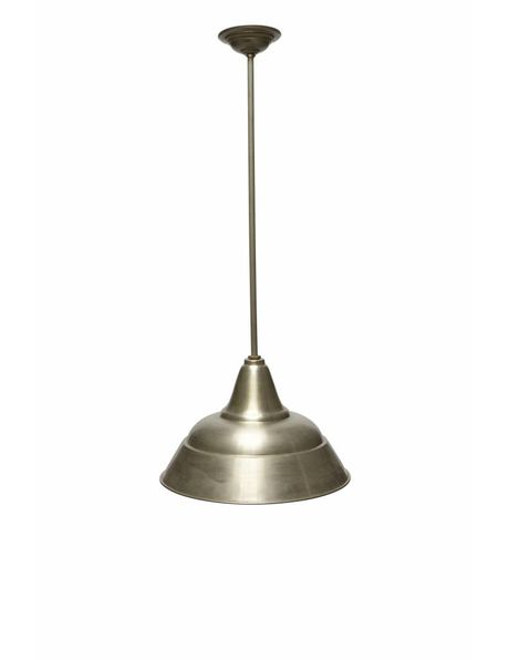 Industrial hanging lamp, long rod, large shade, 1940s