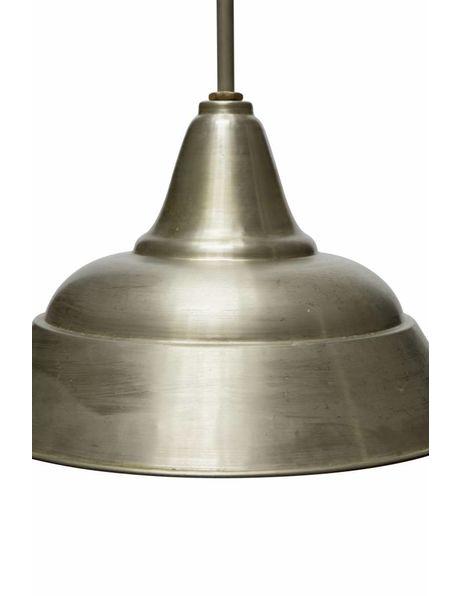 Industriële hanglamp, lange stang, grote kap, ca. 1940