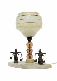 Tafellamp: Boer en Boerin Op Steen