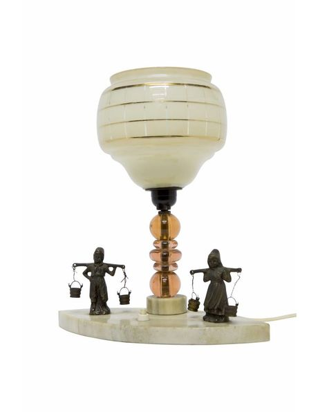 Table lamp, rural scene with natural stone, 1940s