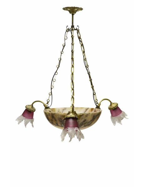 Antique alabaster hanging lamp with 3 glass shades, 1930s