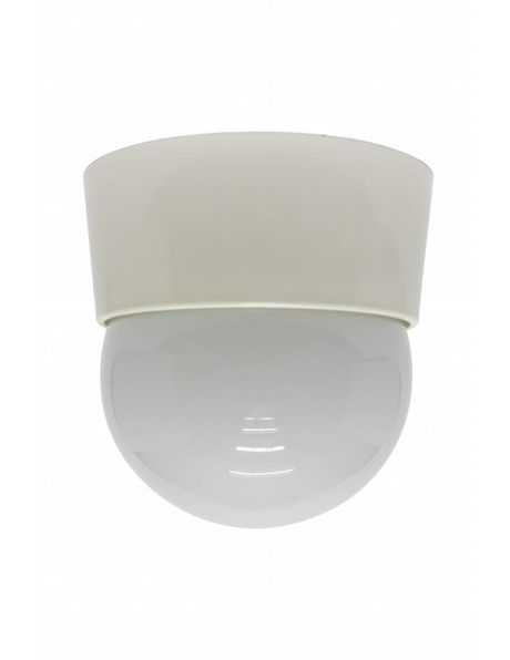 Vintage ceiling lamp, white, with wide rim, 1960s
