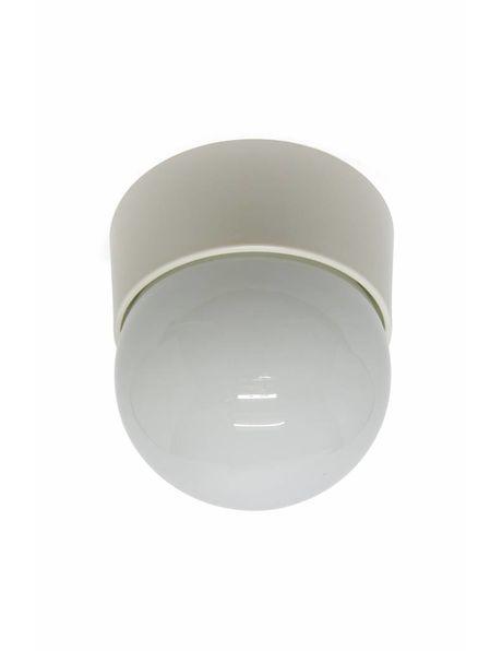 Vintage plafondlamp, wit met brede rand, ca. 1960