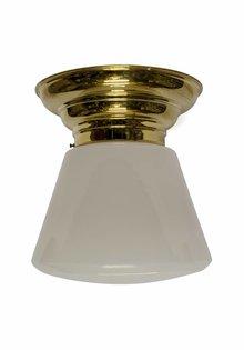 Large Ceiling Lamp, 1930s Design, White Glass