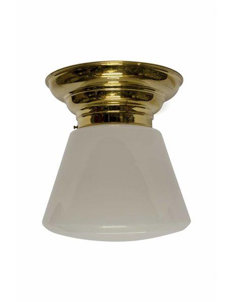 Grote Plafondlamp, rond 1930, strak model, wittig glas