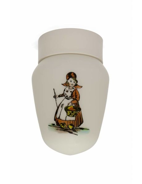 Old ceiling lamp, farmer and farmer's wife on white glass