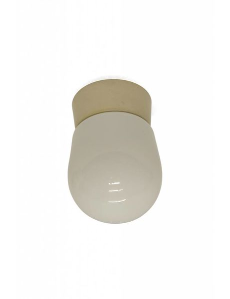 Simple model, white ceiling lighting with authentic ring, from the 1960s