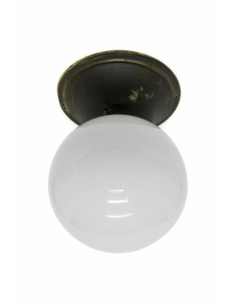 Large ceiling lamp, white glass on copper fixture, 1940s