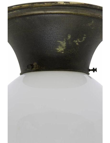 Grote plafondlamp, wit glas aan koper armatuur, ca. 1940