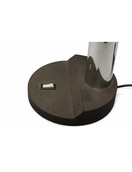 grote bureaulamp, 'Rups', zwart en zilverkleurig