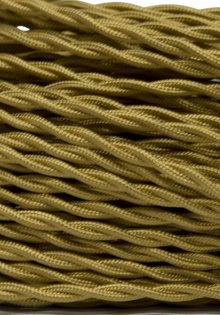 Lamp Wire, with Fabric Cover, Beautifully Braided, Gold Colour, 2 Core