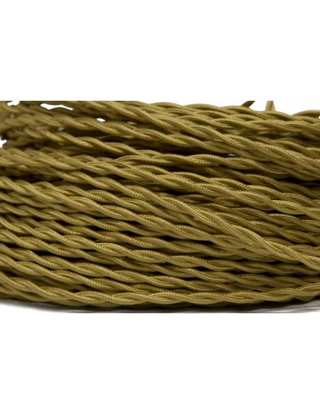 Textile covered lamp cord, 2 core, gold