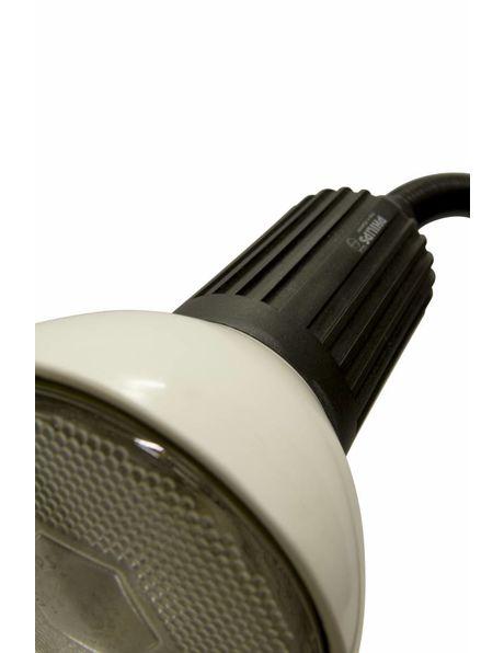 Bureaulamp, klemt aan tafel, oud model uitgevoerd in zwart wit, ca. 1960