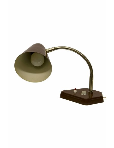 Industrial desk lamp, completely brown metal, dates from the 1950s