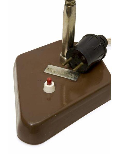 Industriele bureaulamp, geheel bruin metaal, dateert uit jaren 50