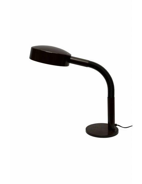 zeventiger jaren bureaulamp, bruin, flexibele arm