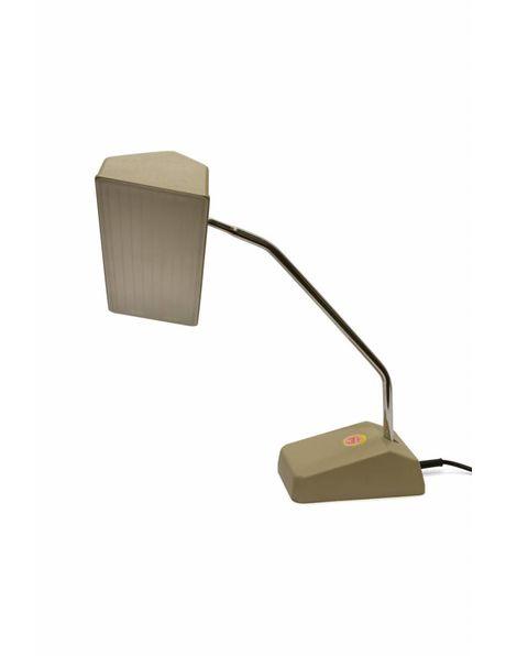 Jaren 60 bureaulamp, licht bruin kunststof, flexibel armatuur