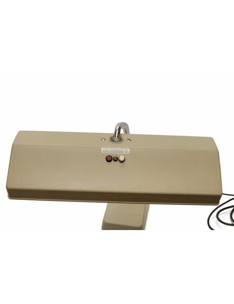 1960s desk lamp, light brown synthetics, flexible fixture