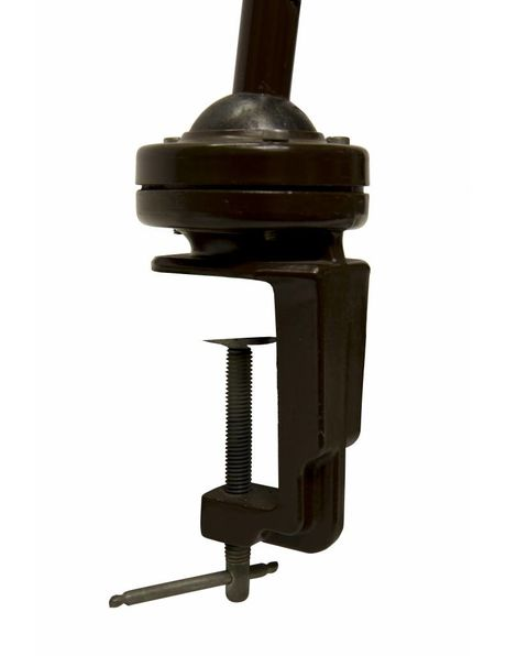Desk Lamp, Brown Metal with Ball Joint at Clamp, 1940s