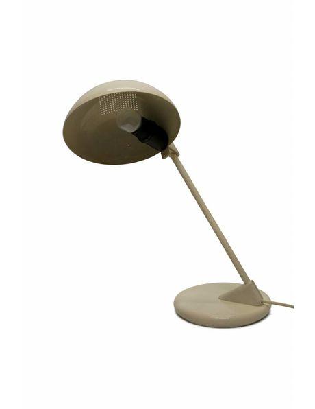 Desk lamp, white metal, angled fixture, 1960s