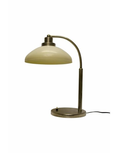 High desk lamp, cream-coloured plastic shade with chrome fitting, 1950s