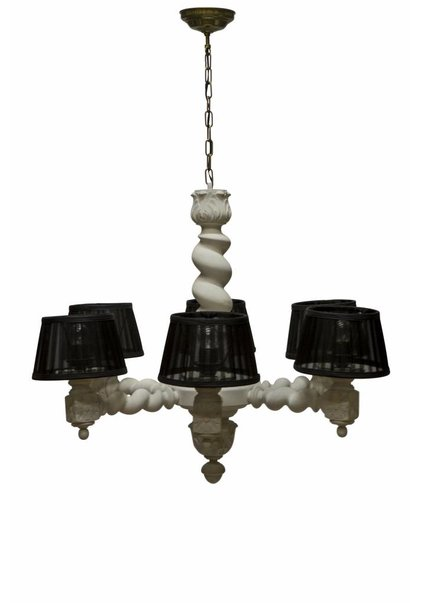 Wooden Chandelier: Chalk White