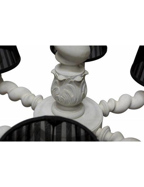 Houten kroonluchter krijt wit met organza kapjes