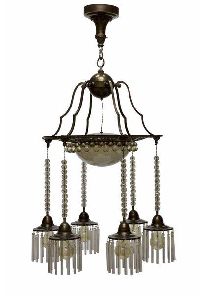 Grote Antieke Hanglamp met Kralen