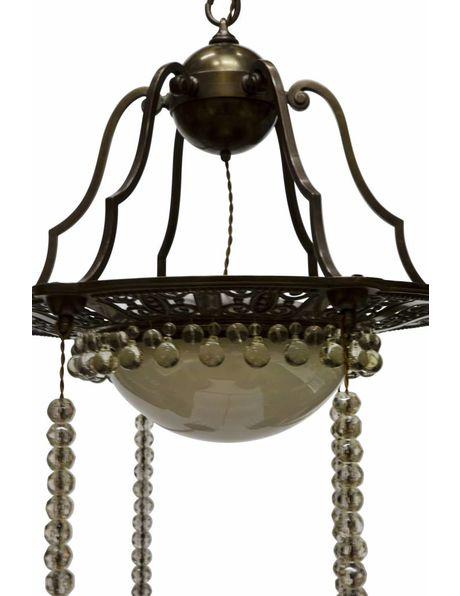 Grote hanglamp, koper met glas