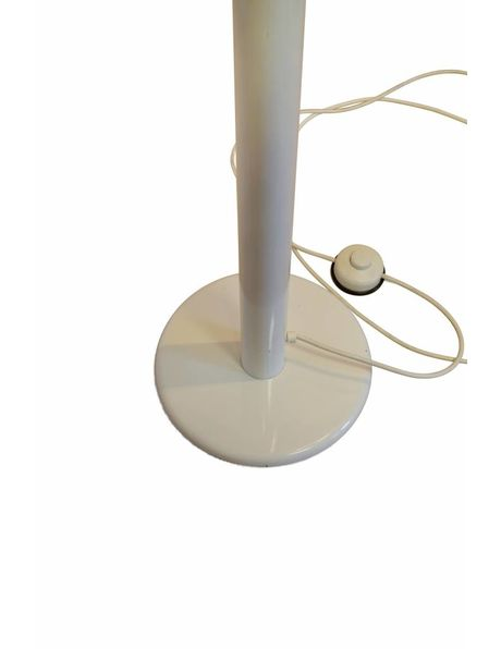 floor lamp, sleek design in white metal, shade rotates on axis, 1960s
